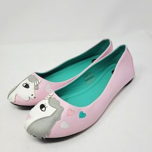Womens T.U.K Pink Vegan Leather Unicorn Ballet Flats Size 8